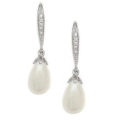 CUBIC ZIRCONIA COLLECTION - CHIC PEARL DROP EARRINGS - CZER392 (SILVER)
