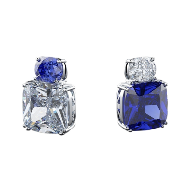 CUBIC ZIRCONIA COLLECTION - BEDAZZLE EARRINGS - CZER563 - ( SAPPHIRE)