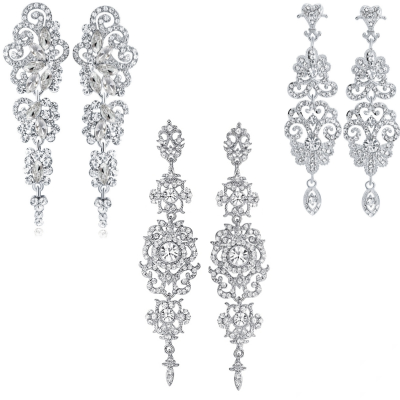 ATHENA COLLECTION - GLAMOUR CHANDELIER EARRINGS SET - SILVER