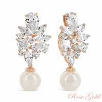 CUBIC ZIRCONIA COLLECTION - MAJESTIC EARRINGS - CZER347 ROSE GOLD