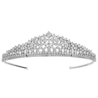 CUBIC ZIRCONIA COLLECTION - CRYSTAL ROMANCE TIARA - CZ3 TIARA SILVER