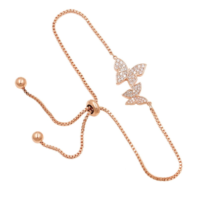 CUBIC ZIRCONIA COLLECTION - BEJEWELLED BUTTERFLY BRACELET - (CZBRA34) ROSE GOLD