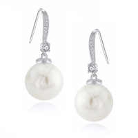 CUBIC ZIRCONIA COLLECTION - CLASSIC PEARL DROP EARRINGS - CZER394