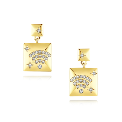 CUBIC ZIRCONIA COLLECTION - DECO GOLD EARRINGS - CZER550