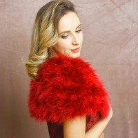 VINTAGE INSPIRED MARABOU FEATHER STOLE - RED (SG1)