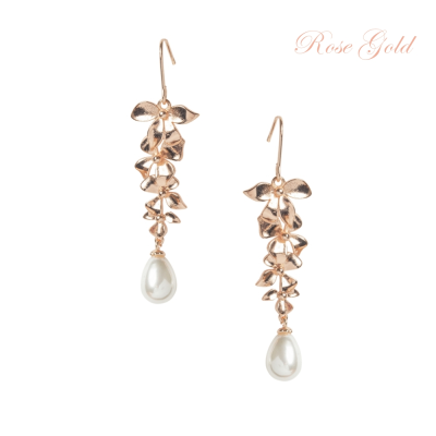 ATHENA COLLECTION - DELICATE ORCHID CHANDELIER EARRINGS - CZER455 ROSE GOLD
