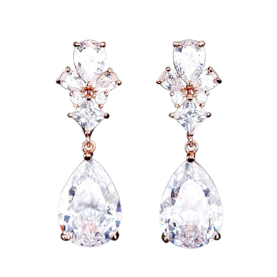 CUBIIC ZIRCONIA COLLECTION - EXQUISITE TEARDROP CRYSTAL EARRINGS - CZER485 ROSE GOLD