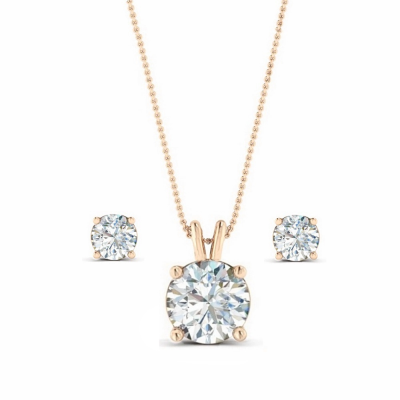 CUBIC ZIRCONIA COLLECTION - Classic Crystal Necklace Set - CZNK64 (ROSE GOLD)