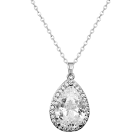 CUBIC ZIRCONIA COLLECTION - SPARKLE GEM NECKLACE - NK126 (SILVER)