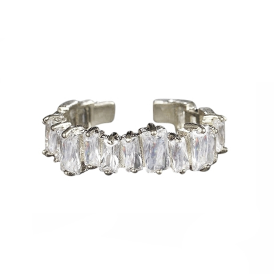 ATHENA COLLECTION - DIVINE CRYSTAL RING - ADJUSTABLE - SILVER R6