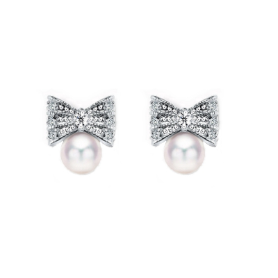 CUBIC ZIRCONIA COLLECTION - TREASURE BOW EARRINGS - CZER475