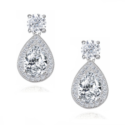 CUBIC ZIRCONIA COLLECTION - DAZZLING CRYSTAL DROP EARRINGS - CZER411