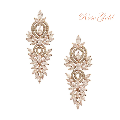 CUBIC ZIRCONIA COLLECTION - CRYSTAL LUSH EARRINGS - CZER388 (ROSE GOLD)