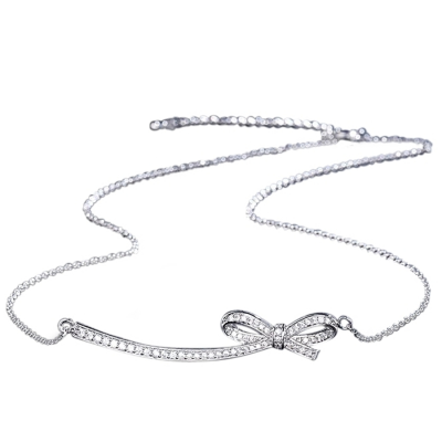 CUBIC ZIRCONIA COLLECTION - CRYSTALLURE BOW NECKLACE - SILVER CZNK115