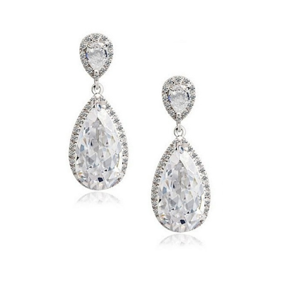 CUBIC ZIRCONIA COLLECTION - SPARKLING CRYSTAL DROP EARRINGS - CZER413