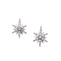 ATHENA COLLECTION - STARBURST EARRINGS - SILVER (CZER471)