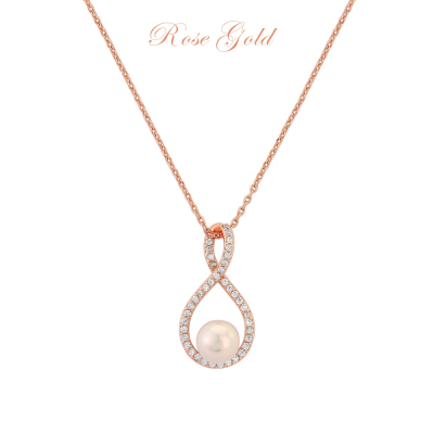 CUBIC ZIRCONIA COLLECTION - EXQUISITE INFINITY  NECKLACE (NK2) (ROSE GOLD)