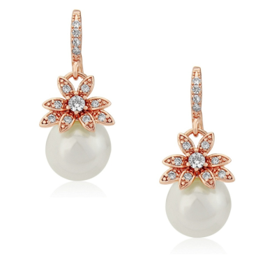 SWAROVSKI AND CZ COLLECTION - VINTAGE CHIC EARRINGS - CZER405 (ROSE GOLD)
