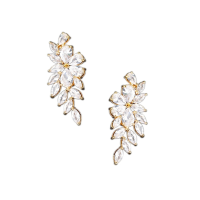 CUBIC ZIRCONIA EARRINGS - CRYSTAL ROMANCE EARRINGS - CZER506 GOLD