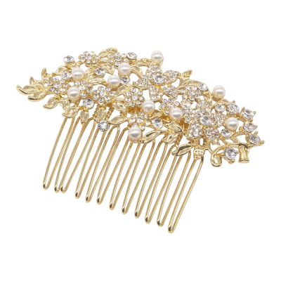 ATHENA COLLECTION - VINTAGE CHIC PEARL COMB -HC190 GOLD