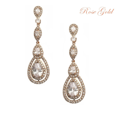 CUBIC ZIRCONIA COLLECTION - STARLET SPARKLE EARRINGS - CZER434 ROSE GOLD