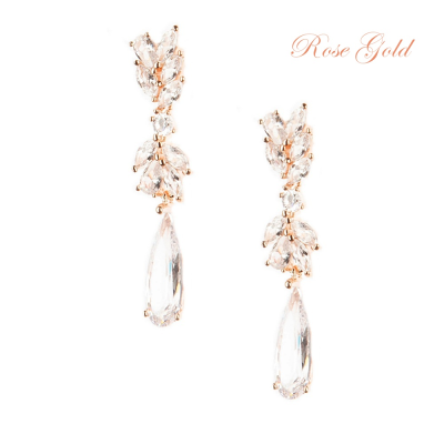 CUBIC ZIRCONIA COLLECTION - CHIC CHANDELIER EARRINGS - CZER436 ROSE GOLD