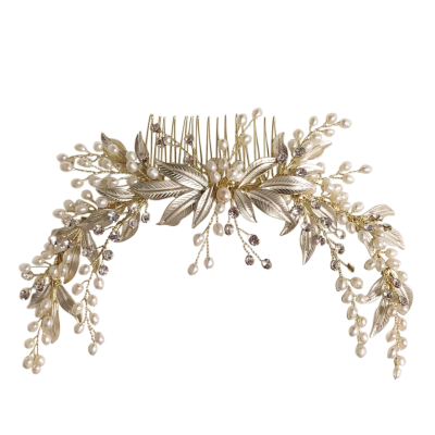 ATHENA COLLECTION - PEARL EXTRAVAGANCE HAIR COMB -HC186  GOLD