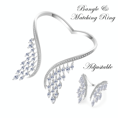 CUBIC ZIRCONIA COLLECTION - STARLET BANGLE SET - BRA-103 SILVER