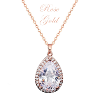 CUBIC ZIRCONIA COLLECTION - SPARKLE GEM NECKLACE - NK126 (ROSE GOLD)