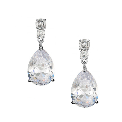 CUBIC ZIRCONIA COLLECTION - DAINTY CRYSTAL DROP EARRINGS - CZER560 SILVER