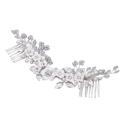 ATHENA COLLECTION - FLORAL JEWELLED HAIR COMB - HC218 SILVER