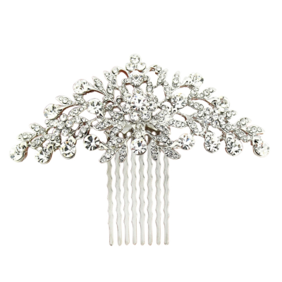 ATHENA COLLECTION - CRYSTAL DIVINE HAIR COMB - SILVER (HC188)