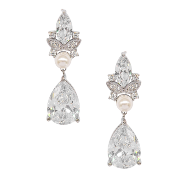 CUBIC ZIRCONIA COLLECTION - CRYSTAL HEIRLOOM EARRINGS - CZER592 SILVER