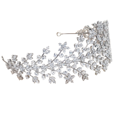 CUBIC ZIRCONIA COLLECTION - CRYSTAL EXTRAVAGANCE HEADBAND - AHB-23 SILVER