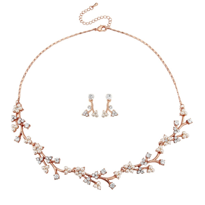 ATHENA COLLECTION - DAINTY DAISY NECKLACE SET - NK164 (ROSE GOLD)