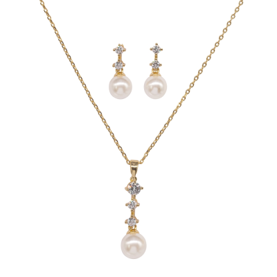 CUBIC ZIRCONIA COLLECTION - DAINTY PEARL NECKLACE SET - CZNK95 GOLD