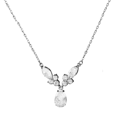 CUBIC ZIRCONIA COLLECTION - BEJEWELLED NECKLACE - CZNK88 (SILVER)