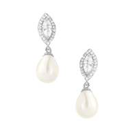 CUBIC ZIRCONIA COLLECTION - PEARL ELEGANCE EARRINGS - CZER566- (SILVER )