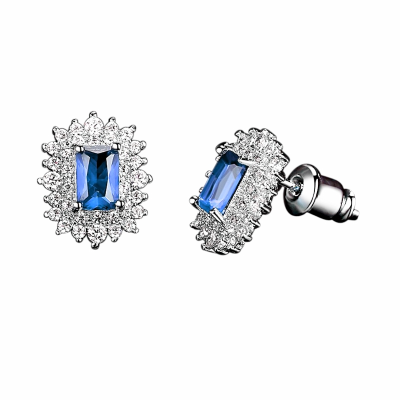 CUBIC ZIRCONIA COLLECTION -DAINTY DIVA EARRINGS - CZER597 -SAPPHIRE BLUE