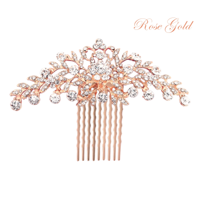 ATHENA COLLECTION - CRYSTAL DIVINE HAIR COMB - ROSE GOLD (HC188)