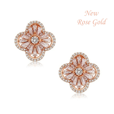 CUBIC ZIRCONIA COLLECTION - GATSBY GLAM EARRINGS - CZER398 ROSE GOLD