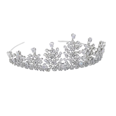 CUBIC ZIRCONIA COLLECTION - CRYSTAL ENCRUSTED TIARA - AHB-25 SILVER