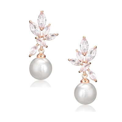CUBIC ZIRCONIA COLLECTION - CRYSTALLURE PEARL DROP EARRINGS - CZER565- (ROSE GOLD )