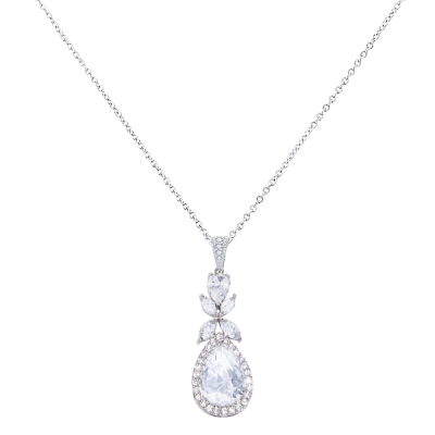 CUBIC ZIRCONIA COLLECTION - CRYSTAL SPARKLE NECKLACE - CZNK89 (SILVER)