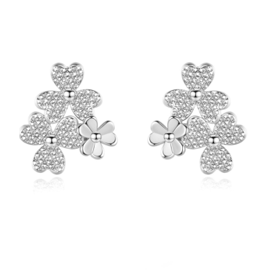 CUBIC ZIRCONIA COLLECTION - CHIC FLORAL CLUSTER EARRINGS - CZER585 SILVER