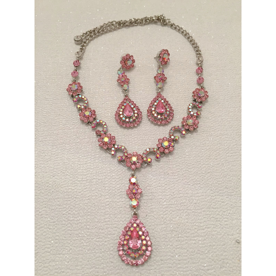 SALE ITEM - LARGE STATEMENT NECKLACE SET - ROSE PINK  - (516)