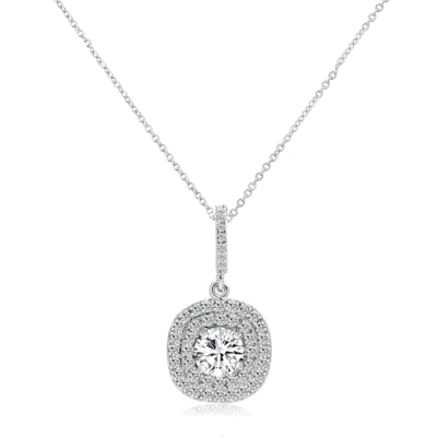 CUBIC ZIRCONIA COLLECTION - SHIMMER EARRINGNECKLACE - CZNK124 SILVER
