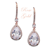CUBIC ZIRCONIA COLLECTION - SPARKLE GEM EARRINGS - CZER562 ROSE GOLD