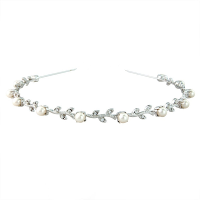 Swarovski Crystal & Pearl Headband - Single Row AHB-17