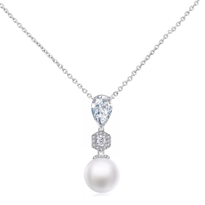 CUBIC ZIRCONIA COLLECTION - EXQUISITE PEARL DROP NECKLACE - CNK58